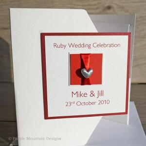 Ruby wedding invitation - hearts