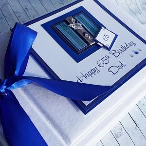"Birthday Photo Album ""Blue Stripes"""
