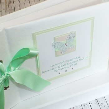 Birthday Photo Album Green Lace Butterfly