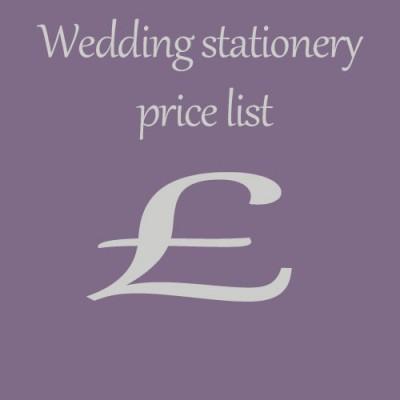 Wedding stationery price list wedding invitation prices for Wedding invitations prices uk