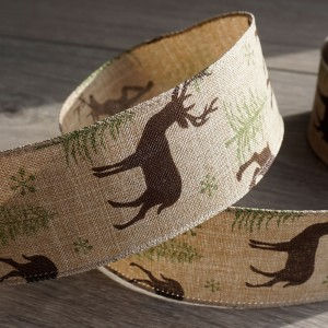 Stag Hessian Wire Edged Ribbon
