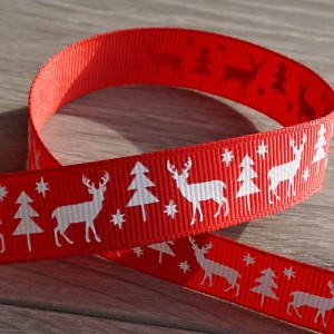 Stag Christmas Grosgrain Ribbon - Red