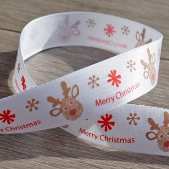 Merry Christmas Reindeer Satin Ribbon