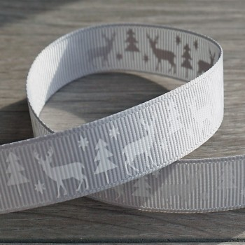Stag Christmas Grosgrain Ribbon - Silver