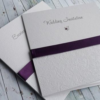 SKYE Classic Handmade Wedding Invitations - purple