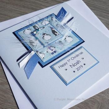 """Handmade Christmas Card """"Baby Boy First Christmas"""""""