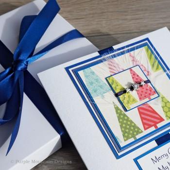 "Luxury Boxed Christmas Card ""Blue Trim The Tree"""
