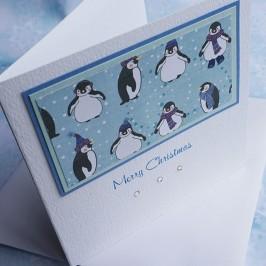 "Handmade Christmas Card ""Cute Penguins"""