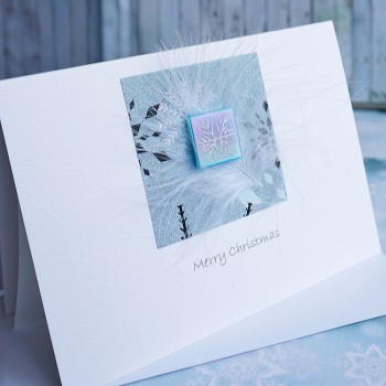 "Handmade Christmas Card ""Feathers & Snowflakes"""