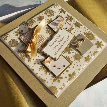 "Luxury Boxed Christmas Card ""Gold stars & Ribbons"""