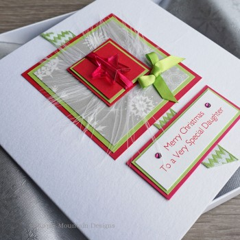 "Luxury Boxed Christmas Card ""Lime & Pink"""