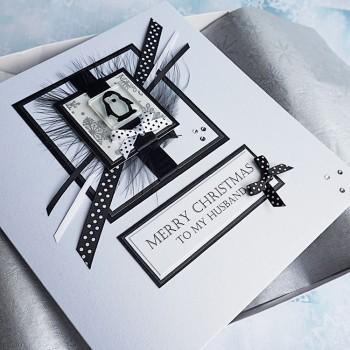 "Luxury Boxed Christmas Card ""Black & White Penguin"""