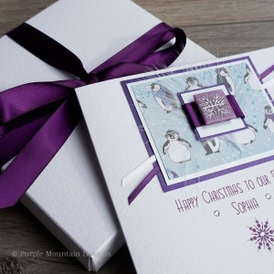 "Luxury Boxed Christmas Card ""Playful Penguins"""