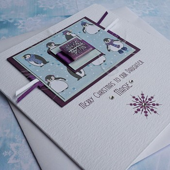 "Luxury Christmas Card ""Playful Penguins"""