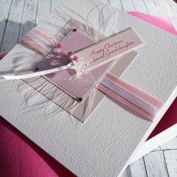 "Luxury Boxed Christmas Card ""Pink Crystals"""