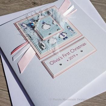 "Luxury Christmas Card ""Baby Girl's First Christmas"""