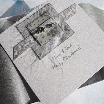 "Luxury Boxed Christmas Card ""Silver Reindeer"""
