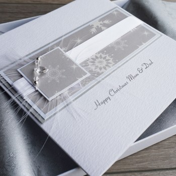 """Luxury Boxed Christmas Card """"Silver & White"""""""