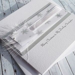"Luxury Handmade Christmas Card ""Silver & White"""